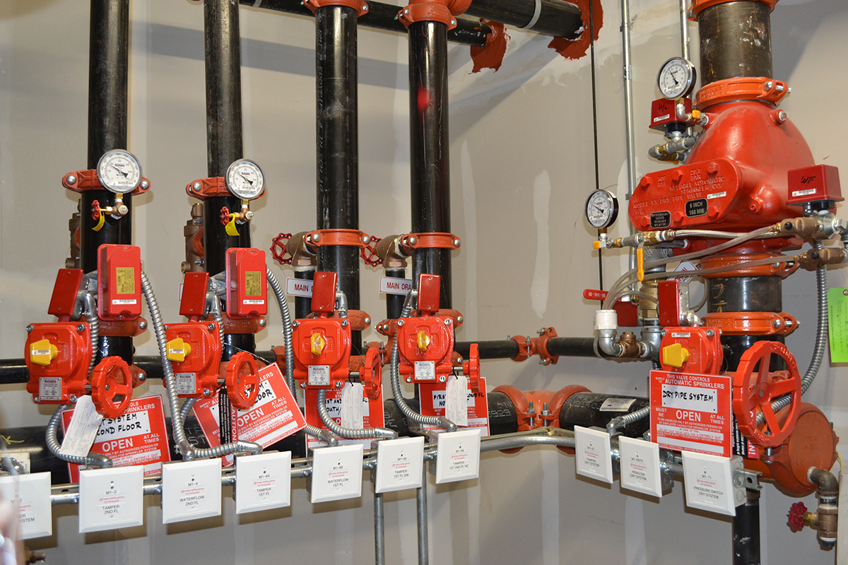close up of fire system valves