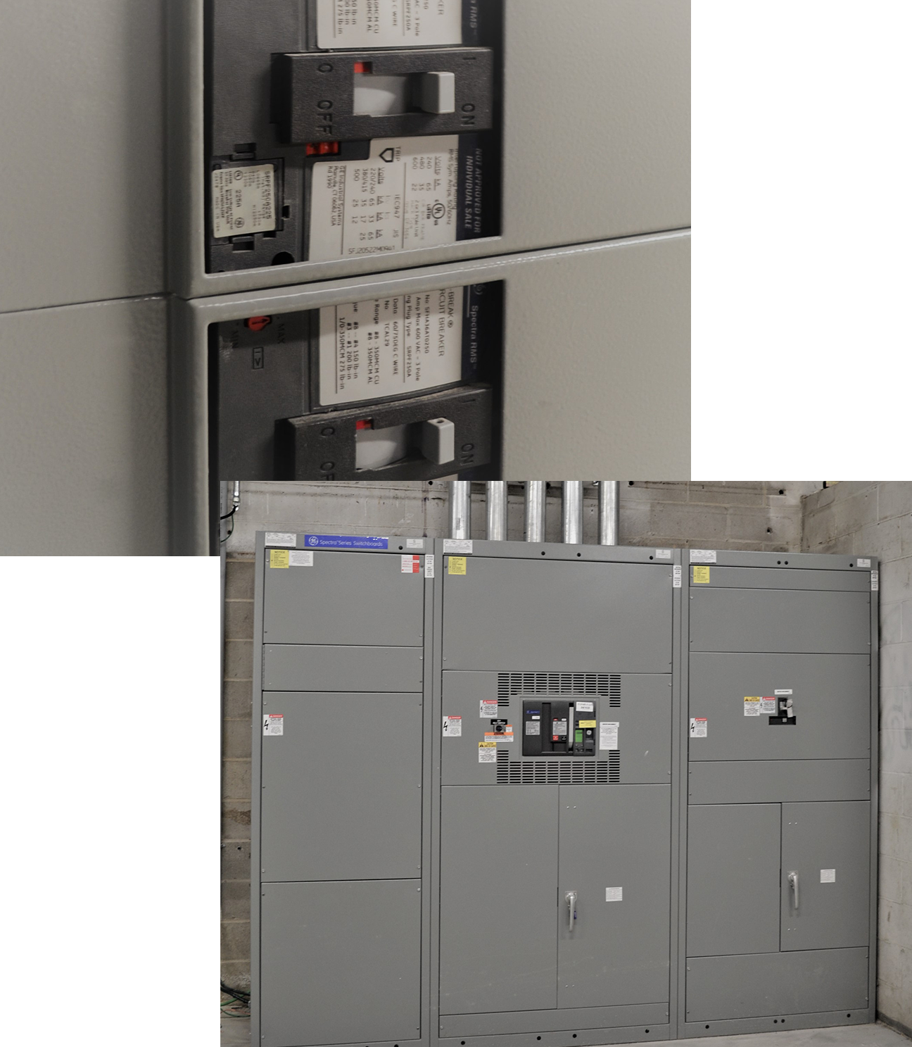 electrical conduit pipes and electrical panel